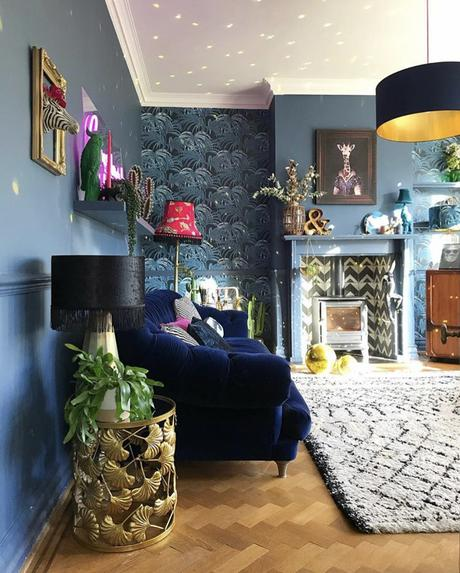 Eclectic blue living room inspiration styling our gold ginkgo leaf side table