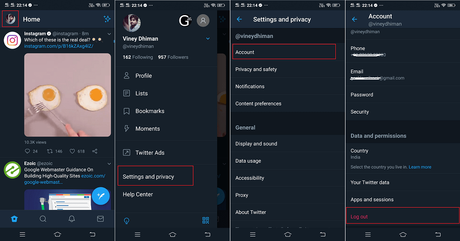 how to logout from twitter app.