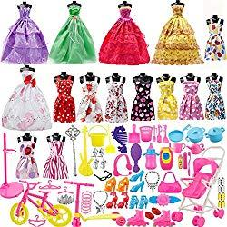 Image: Yourss Doll Clothes Set for Barbie Dolls, 15 Pack Clothes Party Grown Outfits and 98pcs Different Doll Accessories Shoes Bags Necklace Tableware for Little Girl Birthday