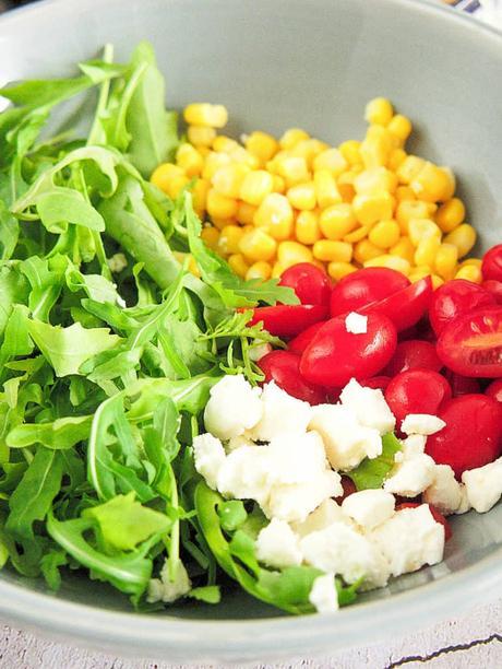 Arugula, Corn and Tomato Salad with Goat Cheese