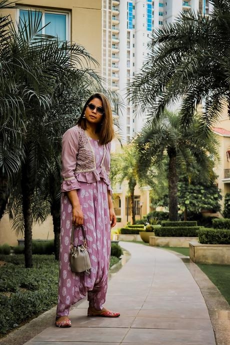 dhoti jumpsuit, indian festive look, indian fashion, style idea, ootd, embroidered dhoti, how to style a dhoti, denim jacket, style inspiration, indian fashion blogger, saumya shiohare, myriad musings