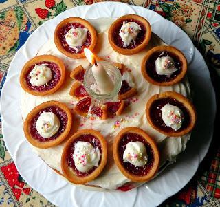 Raspberry Jam Tart Birthday Cake