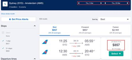 Sydney to Amsterdam for only $857 (AUD) roundtrip