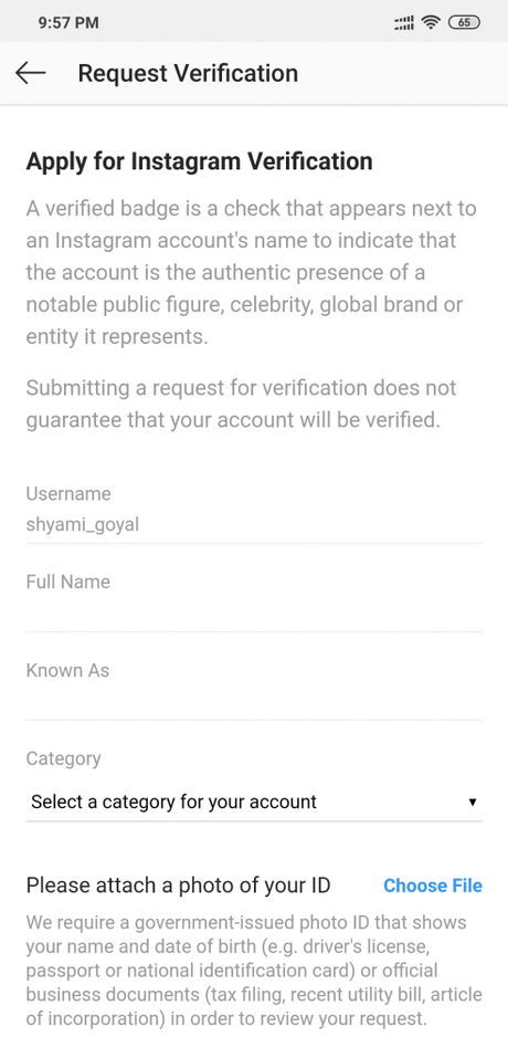 how to verifed blue tick instagram