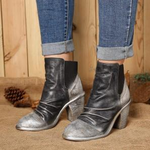 Socofy Leather Ankle Boots