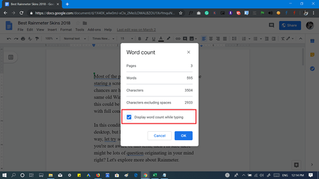 Display word count while typing in Google Docs