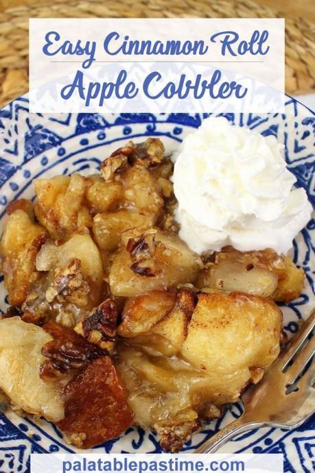 Easy Cinnamon Roll Apple Cobbler #FallFlavors