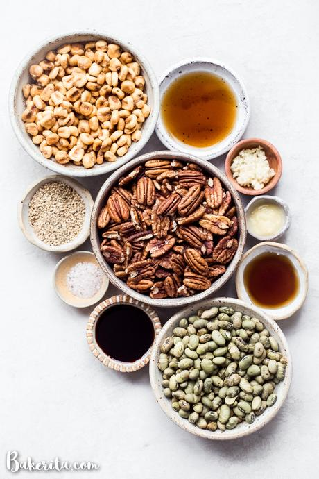This Sesame Tamari Pecan Snack Mix is a deliciously crunchy snack that's bursting with sweet, savory, and umami flavors. It's gluten-free and vegan!