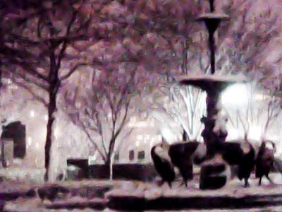 Fountain in the dark with snow [then blue silk]
