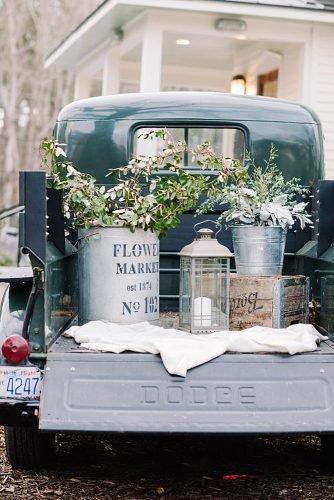 outdoor wedding ideas decor truck with greenery