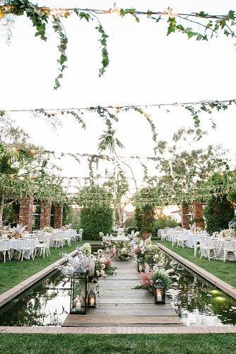 outdoor wedding ideas greenery and string lights