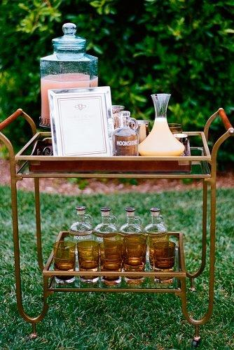 outdoor wedding ideas alcohol table bar