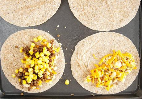 Vegetarian Quesadilla with Cumin and Lentils