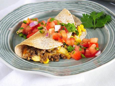 Vegetarian Quesadilla with Cumin and Lentils