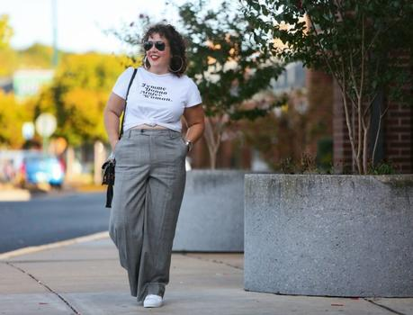 Wide-Leg Pants with Sneakers
