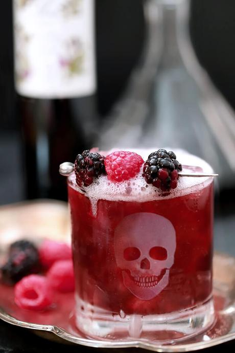 Sparkling Blackberry Smash Cocktail for Halloween