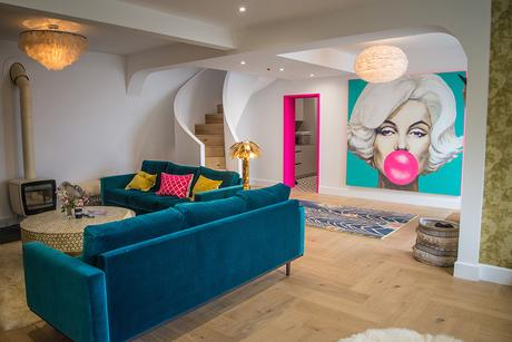 Eclectic living room with vibrant color pops