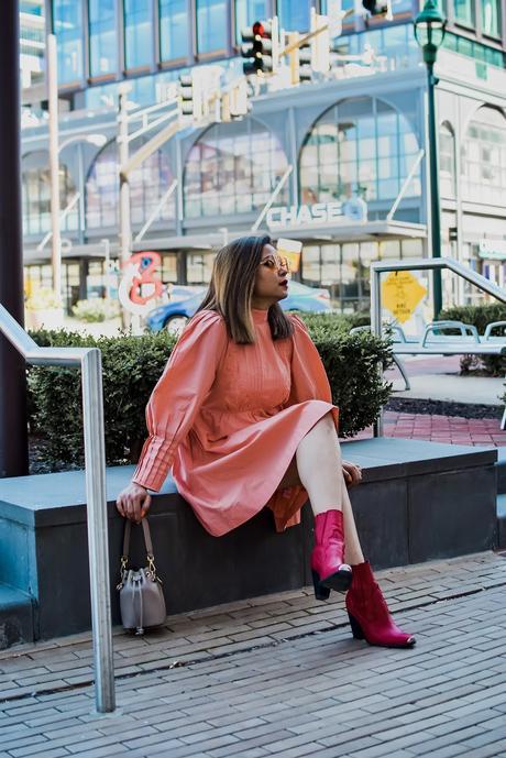 happyxnature mini dress, fashion, style, red western boots, orange sunglasses, mini fall dress, myriad musings, saumya shiohare
