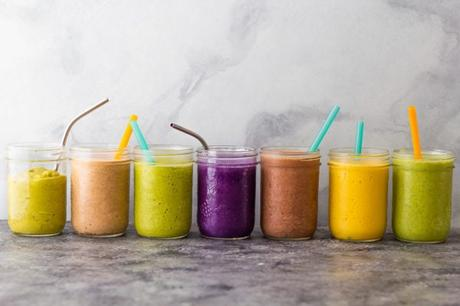 side angle view of 7 smoothie recipes