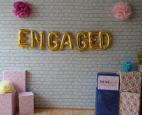 engagement party decorations engaged gold balloons