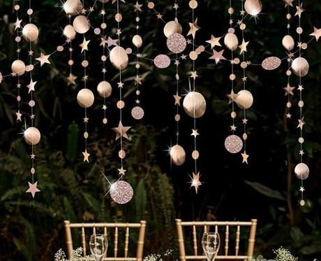 engagement party decorations champagne stars and cirlce garland