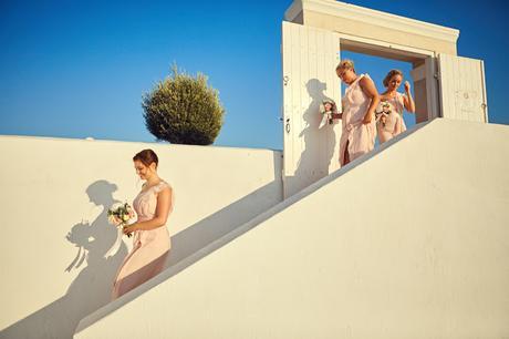 Gold pastel romantic santorini wedding