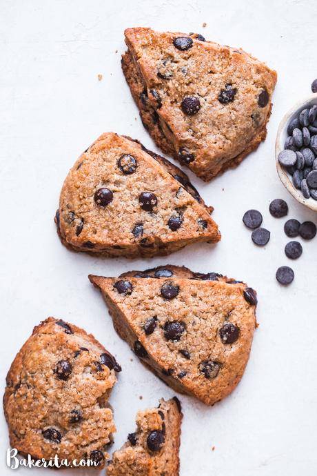 TheseVegan Gluten-Free Chocolate Chip Sconesare everything a good scone should be: tender and fluffy on the inside, with a crispy, slightly crumbly exterior. These paleo scones are loaded with chocolate chips and make for a delicious breakfast, snack, or dessert.