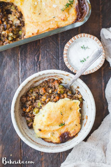 ThisVegan Shepherd's Pie is a hearty, comforting dinner that's perfect for chilly nights. Made with lentils for protein, sauteed vegetables, and topped off with creamy mashed potatoes, this is vegan comfort food at it's finest.
