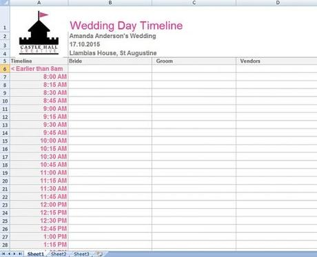 wedding planning spreadsheet astlehallcreative wedding day timeline spreadsheet