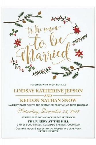 christmas wedding ideas Festive Holiday Christmas Wedding Invitation