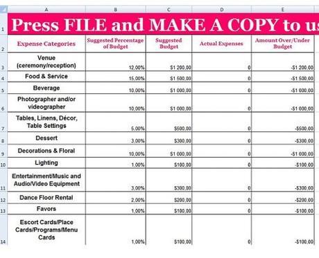 wedding budget spreadsheet wedding budget template