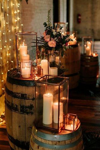 fall wedding party moody wedding decor candles flowers