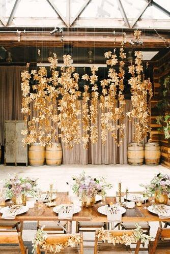 fall wedding party gold maple leaves wedding reception backdrop