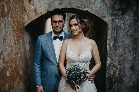 Romantic wedding in Corfu with lavender and olive branches
