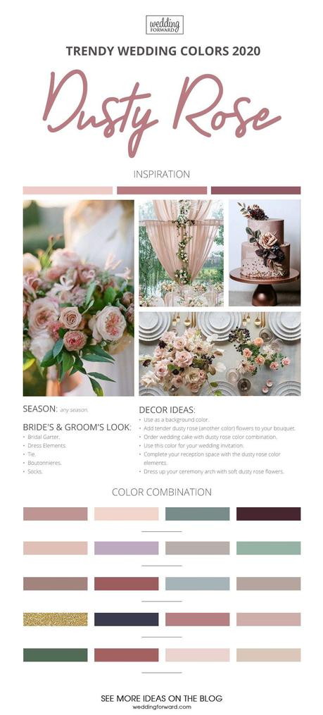 wedding colors 2020 dusty rose trendy wedding colors