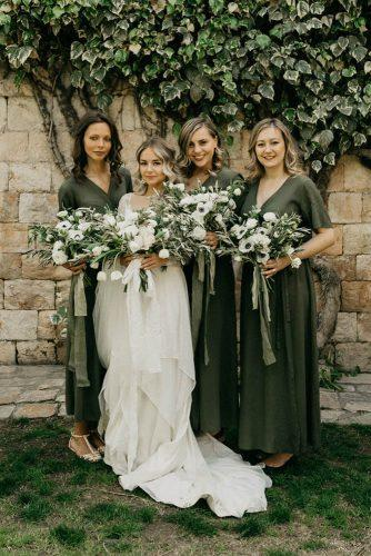 wedding colors 2019 olive green dresses on bridesmaids with bridal bouquets braden young photo