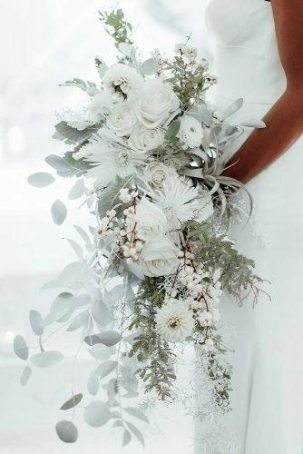 wedding colors 2019 cascading white and silver sage bridal bouquet victoriagoldphotography