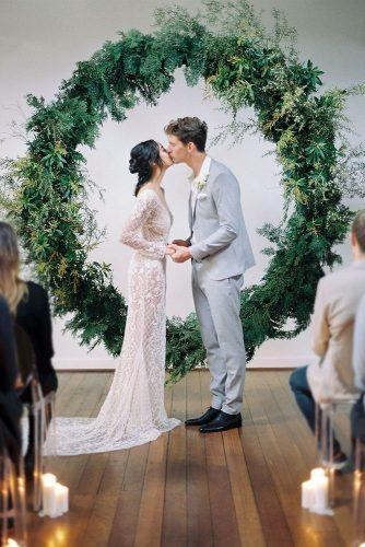wedding colors 2019 round shaped bridal altar with greenery katie grant