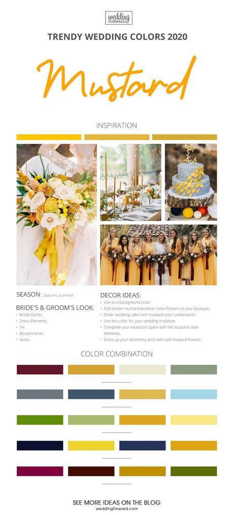 wedding colors 2020 mustard wedding theme