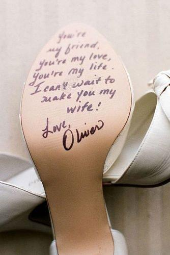 cute wedding ideas message on the bridal shoe