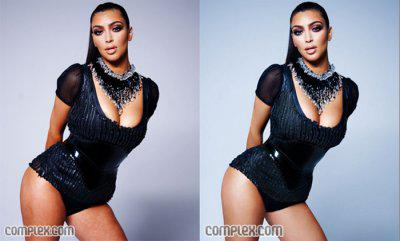misspopculture:  Kim Kardashian Photoshop's latest victim   Why the lightened skin? Thats what ide like to know! Is her skin colour offensive or ugly? NO! So why have the retouchers made her paler, is dark skin not fashionable? WTF????? This is not unlike the unnecessary air brushing of Angelina Jolie which made her look anorexic… Except that this time it seems racist, no?? xoox LLM
