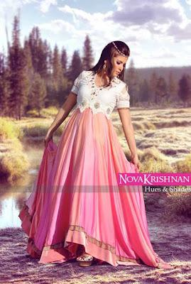 Nova Krishnan Hues & Shades Party Dresses Saree & Frocks Collection 2012