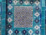 Intricate blue and white mosaics at Shahi-Zinda