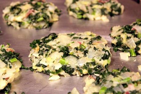 Mashed Potato Cakes with Onions and Kale