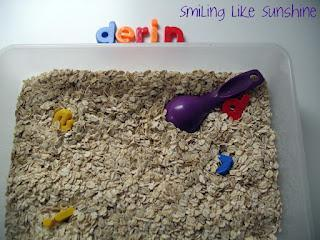 Name Recognition Game Using in a Sensory Tray