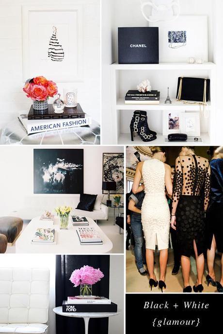 black white glamour moodboard
