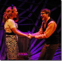 "Erin Creighton and John Sessler in Street Tempo Theatre's ""Little Shop of Horrors"" at Stage 773. (Photo credit: Linda Gartz)"