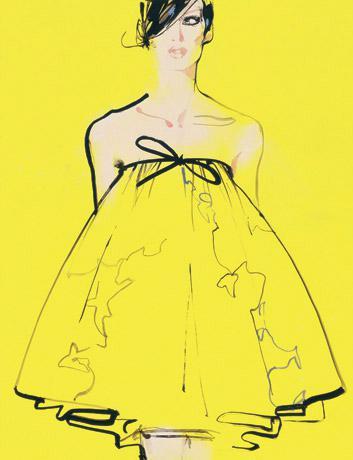 david-downton-fashion-illustration-yellow-babydoll