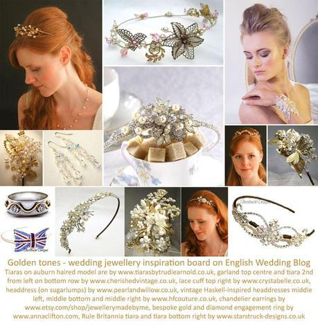 English wedding jewelry ideas for brides gold and colours