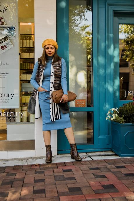 MONOCHROMATIC outfit, sweater and skirt coordinate, separates, blur turtleneck, blue  knit pencil skirt, yellow beret, bottega bag, animal print boots, snakeskin boots, myriad musings, saumya shiohare